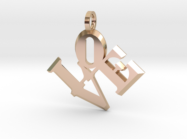 Love Sculpture pendant in 14k Rose Gold Plated Brass: Extra Small