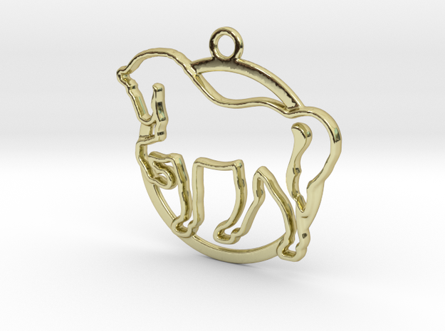 Horse & circle intertwined Pendant in 18k Gold Plated Brass