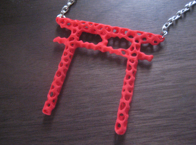 voronoi torii gate pendant in Red Processed Versatile Plastic