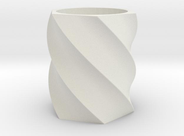 Spiral Hexagon Vase in White Natural Versatile Plastic