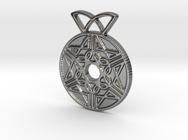 Pomegranate Coin Pendant in Polished Silver