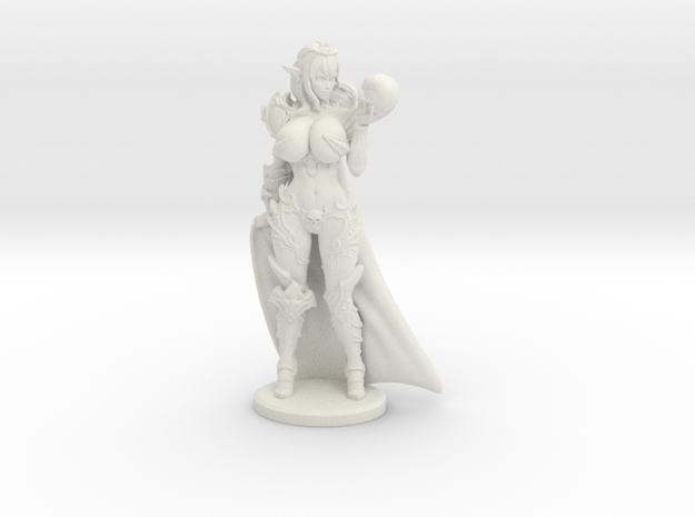 Dark Queen BUSTY VARIANT w Cape Mini - 40mm in White Natural Versatile Plastic