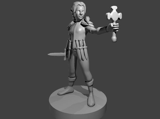 Gnome Female Cleric with Holy Symbol in Smooth Fine Detail Plastic