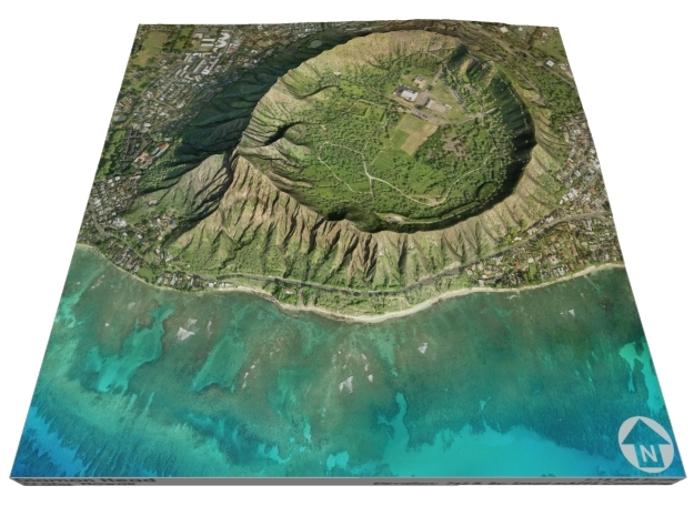"Diamond Head, Hawaii: 6""x6"" in Matte Full Color Sandstone"