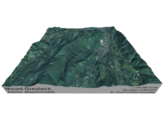 "Mount Greylock Map: 6"" in Matte Full Color Sandstone"