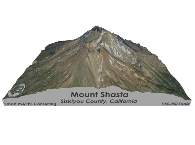 "Mount Shasta Map: 6""x6"" in Matte Full Color Sandstone"