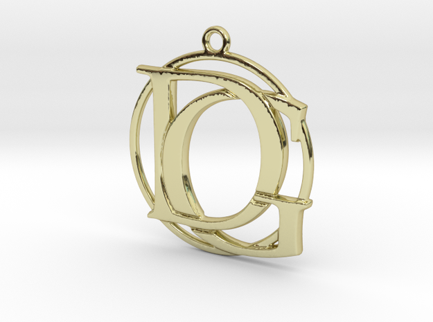 Initials D&G and circle monogram in 18k Gold Plated Brass