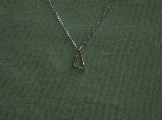 Textured hook pendant necklace in Natural Brass