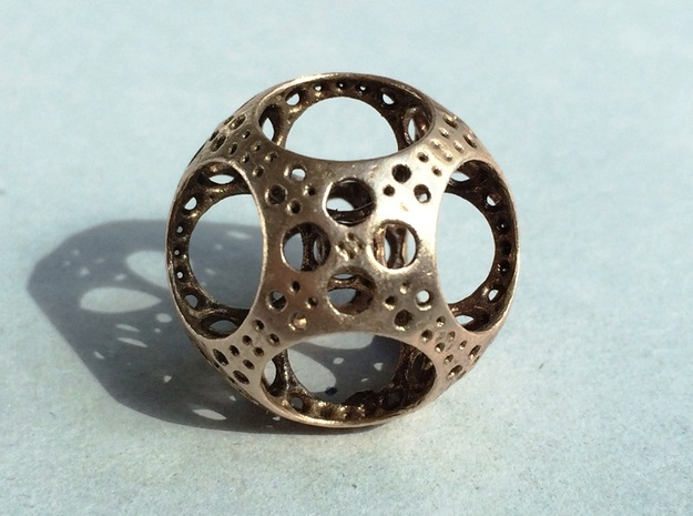 Apollonian Octahedron Mini 3d printed Raw Bronze