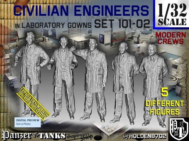 1/32 Engineers Set101-02 in Smooth Fine Detail Plastic