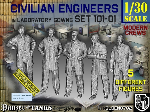1/30 Engineers Set101-01 in White Natural Versatile Plastic
