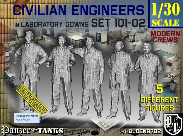 1/30 Engineers Set101-02 in White Natural Versatile Plastic