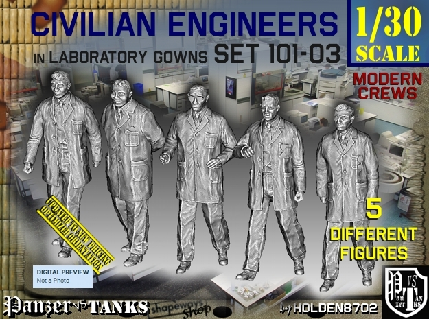 1/30 Engineers Set101-03 in White Natural Versatile Plastic