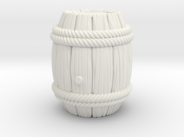 Barrel Stylized B in White Natural Versatile Plastic