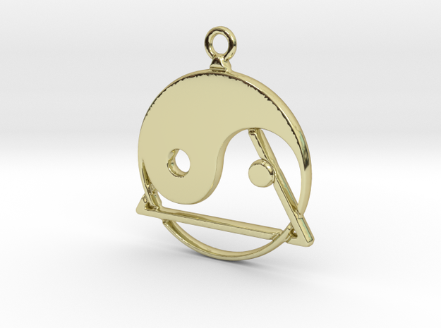 Yin-Yang and triangle intertwined in 18k Gold Plated Brass