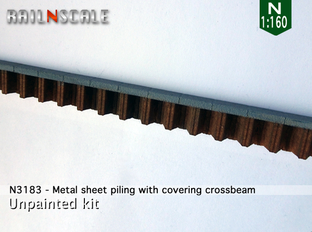 Metal sheet piling w/ covering crossbeam (N 1:160)