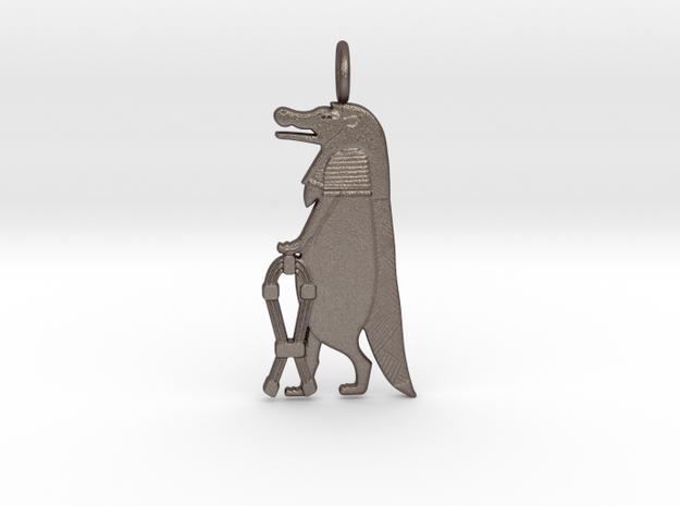 Taweret / Thoêris amulet in Polished Bronzed-Silver Steel