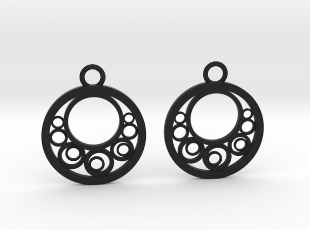 Geometrical earrings no.6 in Black Natural Versatile Plastic: Small