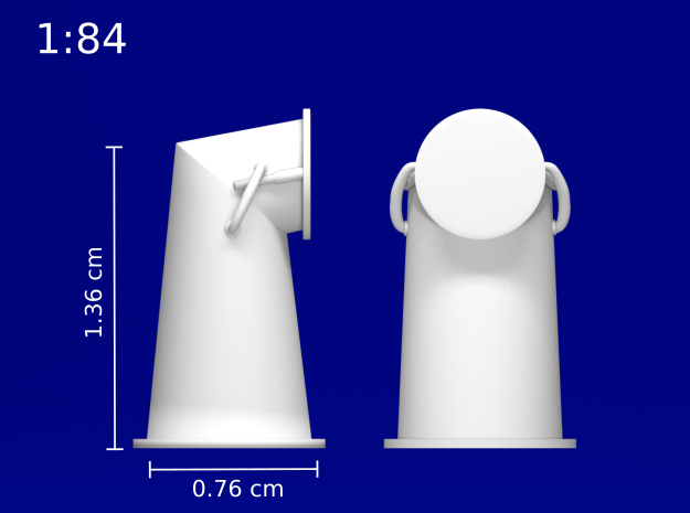1:84 HMS Victory Chimney Cowl in Smoothest Fine Detail Plastic