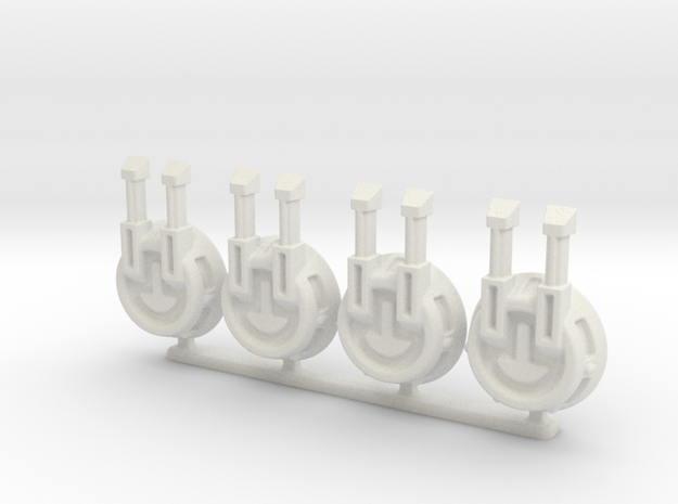 Turret Pack (A) 6mm Gaming in White Natural Versatile Plastic