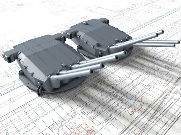 """1/400 Dunkerque 330 mm/50 (13"""") Guns 35º and 20º in Smooth Fine Detail Plastic"""