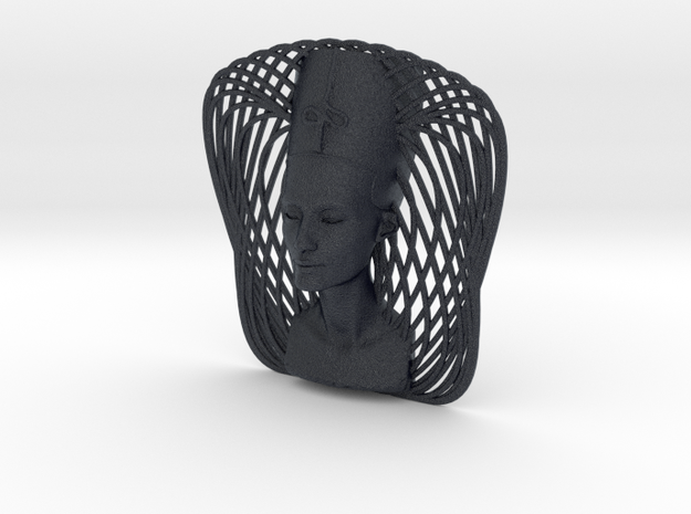 Wire Curve Art + Nefertiti (003d) in Black PA12