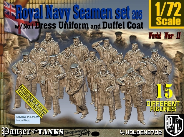 1/72 Royal Navy Seamen DC+No1 Set 205 in Smooth Fine Detail Plastic