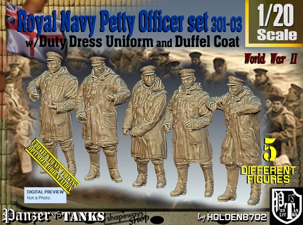 1/20 Royal Navy DC Petty OffIcer Set301-03 in White Natural Versatile Plastic