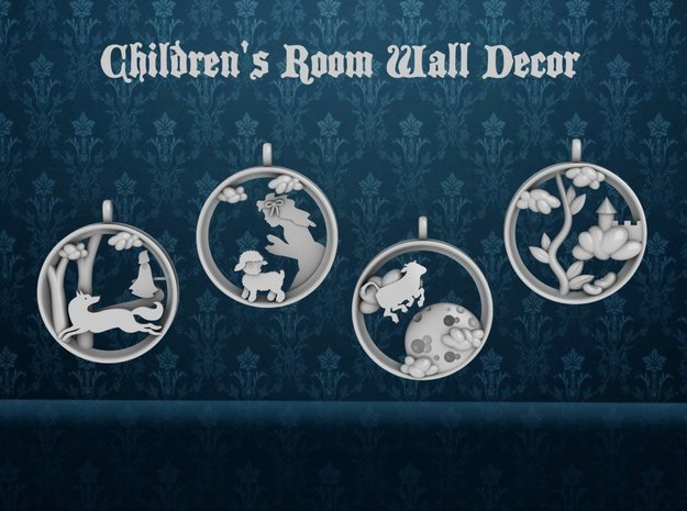 "Children's Wall Charm ""Cow Jumping Over The Moon"" in White Strong & Flexible Polished"