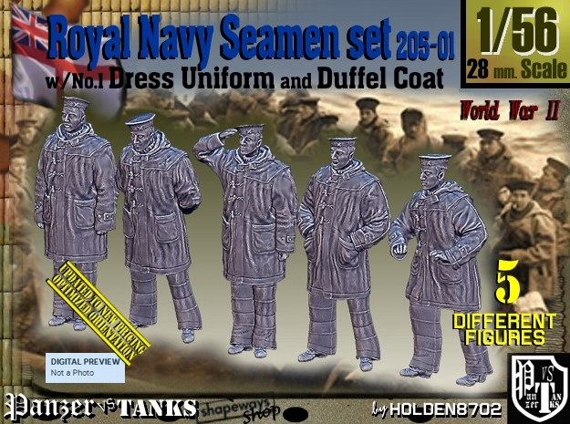 1/56 Royal Navy Seamen DC+No1 Set205-01 in Smooth Fine Detail Plastic