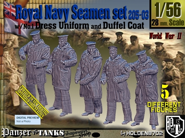 1/56 Royal Navy Seamen DC+No1 Set205-03 in Smooth Fine Detail Plastic