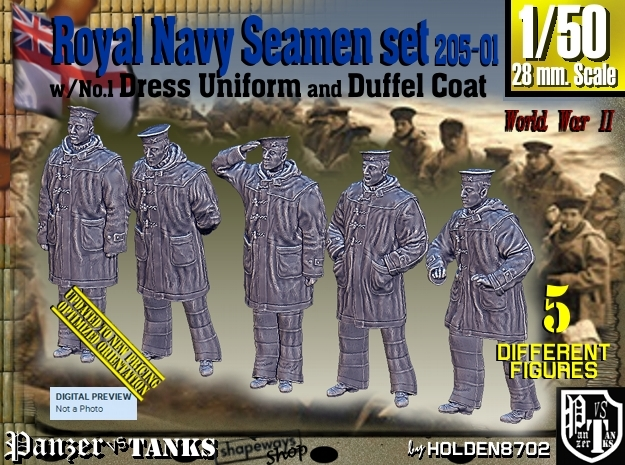 1/50 Royal Navy Seamen DC+No1 Set205-01 in Smooth Fine Detail Plastic