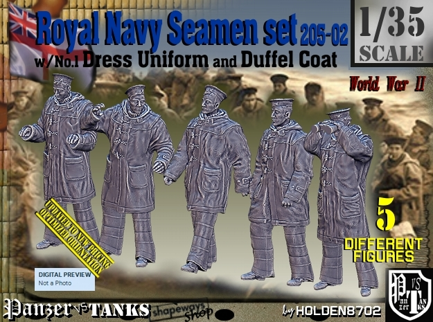 1/35 Royal Navy Seamen DC+No1 Set205-02 in Smooth Fine Detail Plastic