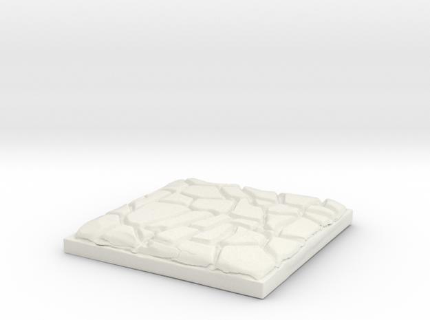 """Cobblestone 1"""" Square Miniature Base Plate in White Natural Versatile Plastic"""