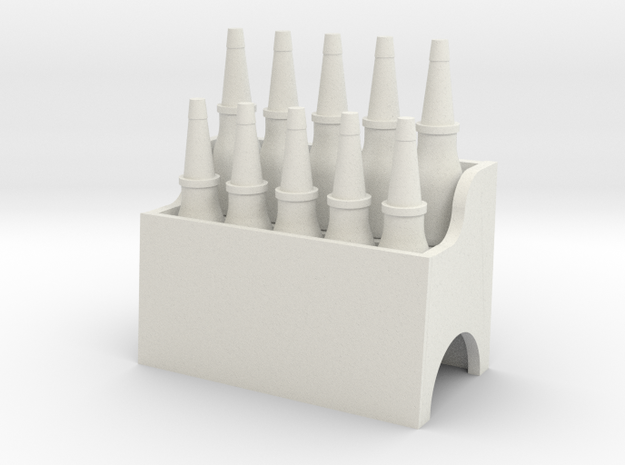 Garage Oil Bottle Rack 1:24 Scale in White Natural Versatile Plastic