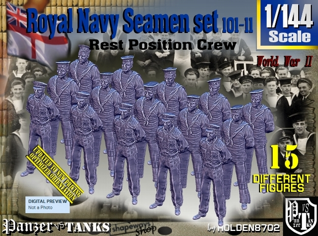 1/144 RN Seamen Rest Set101-11 in Smooth Fine Detail Plastic