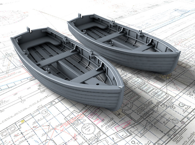 1/48 Scale Allied 10ft Sailing Dinghys x2 in Smooth Fine Detail Plastic