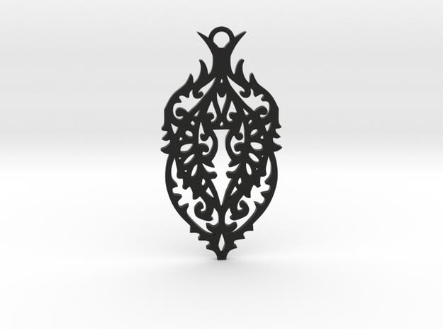 Thorn pendant in Black Natural Versatile Plastic: Large