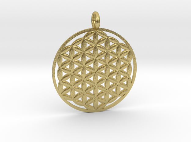 Flower of Life Sacred Geometry pendant approx 30mm in Natural Brass: Medium