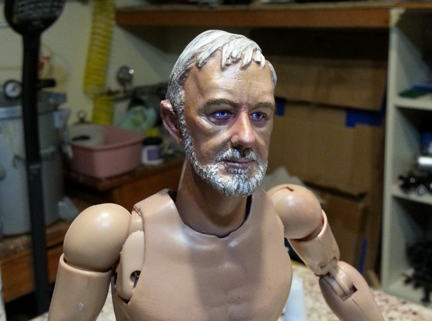 1-6 Alec Head for Action Figure in Smooth Fine Detail Plastic