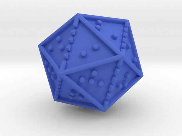 Braille Twenty-sided Die d20 in Blue Processed Versatile Plastic