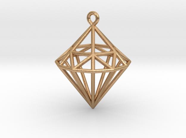 Wireframe Diamond Pendant in Natural Bronze