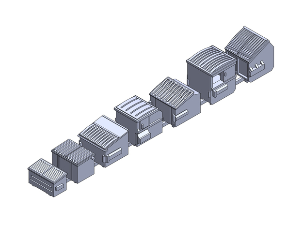 Dumpsters small x7 in Smoothest Fine Detail Plastic: 6mm