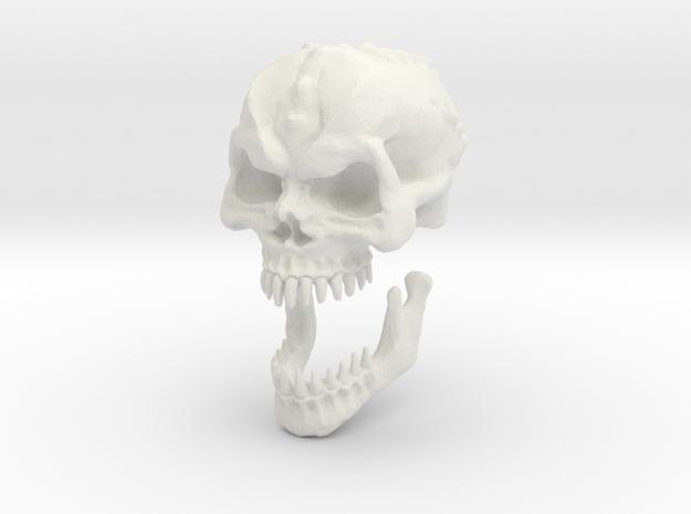Demon Skull v6 -28mm tall. in White Natural Versatile Plastic