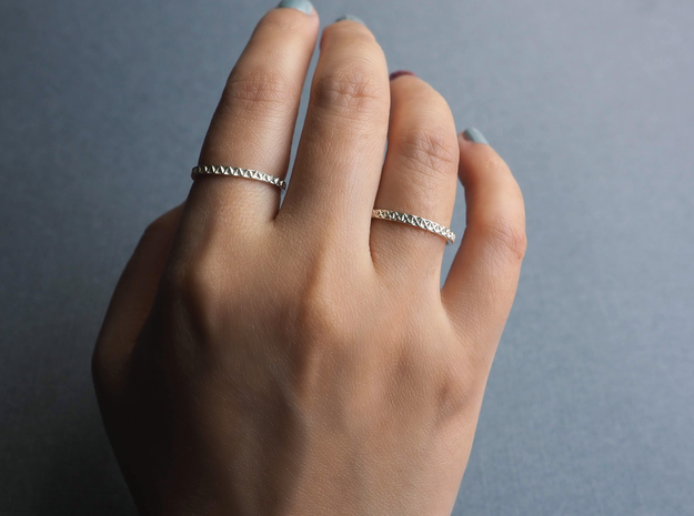 Geometric Stack Ring Set 1 in Polished Silver: 5 / 49