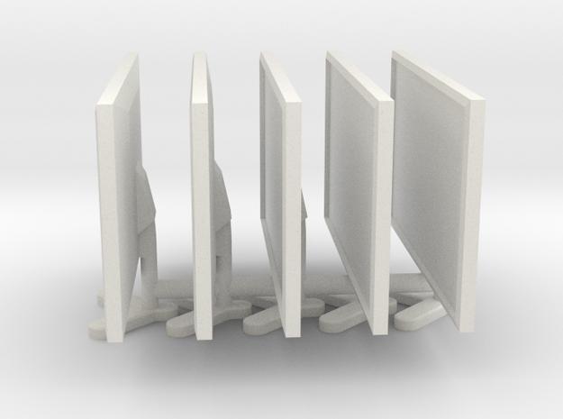 1:18 Scale Single Computer Monitor (x5) in White Natural Versatile Plastic