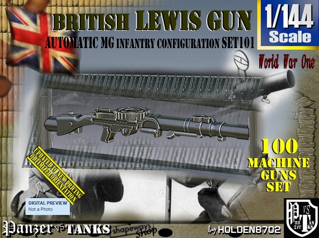 1/144 Lewis Auto Machine Gun Infantry Set101 in Smoothest Fine Detail Plastic