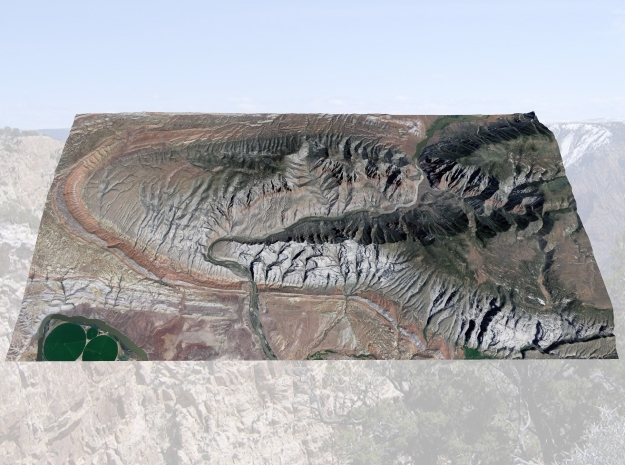 "Split Mountain Map, Utah:  No VE, 6""x12"" in Natural Full Color Sandstone"
