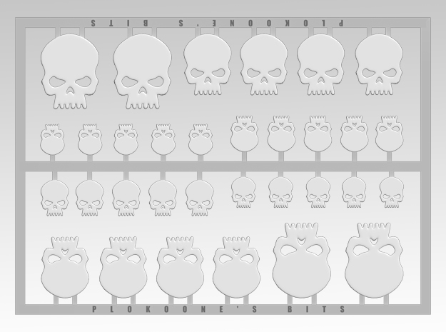 Skull 1 Vehicle Icons in Smooth Fine Detail Plastic