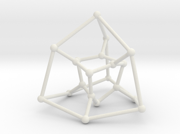 Desargues graph (v. 2) in White Natural Versatile Plastic: Large